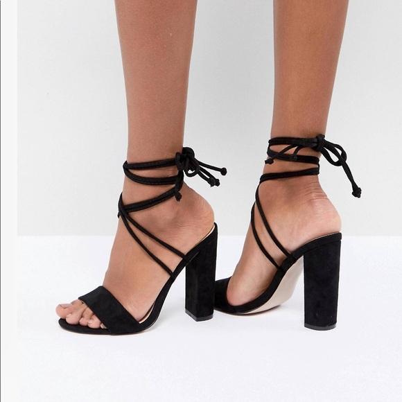 Black Tie Up Block Heeled Sandals